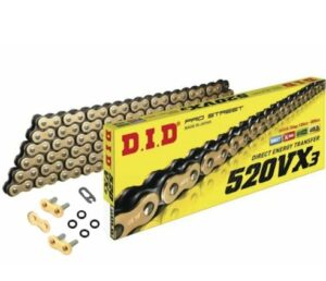 Motorcycle Chain DID X-Ring Gold 520 VX3 120 Split Link & Rivet Link